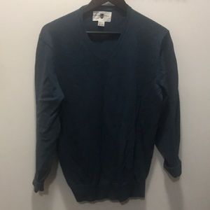Black & Brown Teal V-neck Sweater
